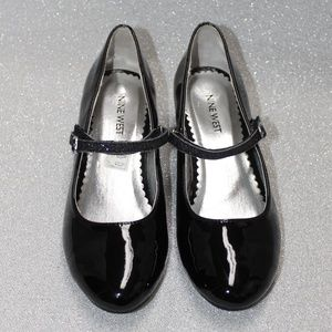 Nine West Girls Black Patent Shoes w/Sparkle Heels